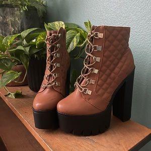 Brand new brown high top booties platform size 7